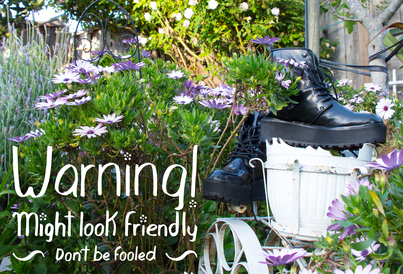 Warning! Boots and flowers